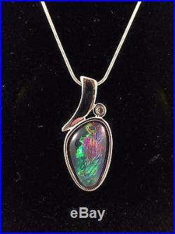 Genuine Triplet Opal Sterling Silver Necklace Pendant Cubic Zurconia / A Grade /