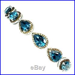 Glorious Pear 10x7mm Top London Blue Topaz Cubic Zirconia 925 Silver Bracelet