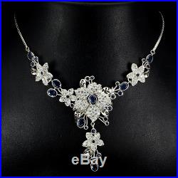 Glorious Top Rich Blue Sapphire Cubic Zirconia 925 Sterling Silver Necklace