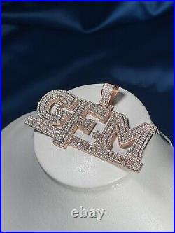 God, Family, Money Rose Finish 925 Sterling Silver Pendant Cubic Zirconia Stones