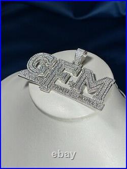 God, Family Money White Finish 925 Sterling Silver Pendant Cubic Zirconia Stones