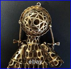 Gold On 925 Silver Movable Ragdoll Pendant Cubic Z and Garnet Pippi Longstocking
