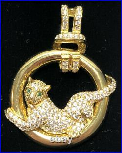 Gold-Plated Sterling Silver with White & Green Cubic Zirconia Panther Pendant