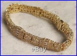 Gorgeous Judith Ripka Gold Clad Cubic Zirconia Bracelet 925 Silver 7