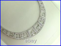 Gorgeous Sterling Silver Cubic Zirconia Poker Style Choker Necklace