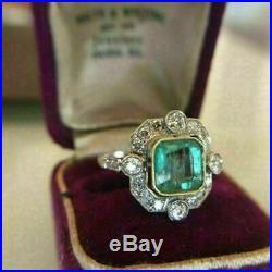 Green 2 CT Asscher CUBIC ZIRCONIA Art Deco Wedding Ring 925 Silver Ring