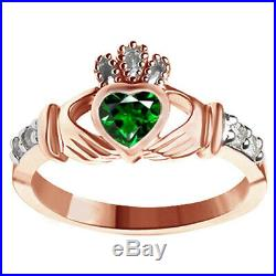 Green Emerald & Cubic zirconia Claddagh Ring 14K Rose Gold Over