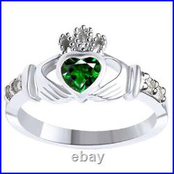 Green Emerald & Cubic zirconia Claddagh Ring 14K White Gold Over