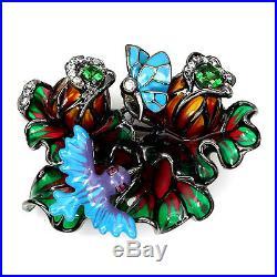 HANDMADE Cubic Zirconia 925 SILVER ENAMEL BIRD BUTTERFLY FLOWER PENDANT BROOCH