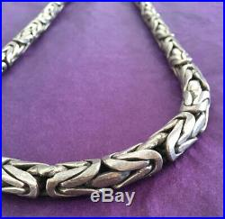 HEAVY 158 grams Sterling Silver Byzantine Woven Cubic Necklace Chain 21 7mm