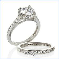 HSN Jean Dousset Sterling 2.61 Ct Round Cubic Zirconia Bridal Ring Set Size 6