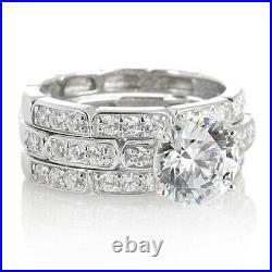 HSN Jean Dousset Sterling 2.68 ct Round Cubic Zirconia Bridal Ring Set Size 8