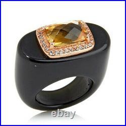 HSN Rarities Carol Brodie Rose Vermeil Citrine & Cubic Zirconia Hololith Ring 6