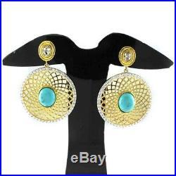 HSN Rarities Carol Brodie Turquoise & Cubic Zirconia Vermeil Drop Earrings $459