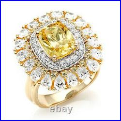 HSN Victoria Wieck 6.44ct Cushion Canary & Cubic Zirconia Sterling Floral Ring 7