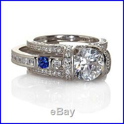 HSN Victoria Wieck Blue Sapphire & Cubic Zirconia Sterling Bridal Ring Size 7