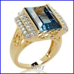 HSN Victoria Wieck Emerald Cut Aquamarine & Cubic Zirconia Solitaire Ring 5