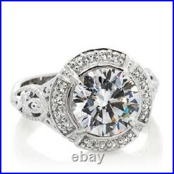 HSN XAVIER Sterling Silver 3.24 CT Cubic Zirconia Filigree Ring Size 8 $139