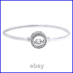 Halo Dancing Cubic Zirconia Circle Bangle Bracelet 14K White Gold Over