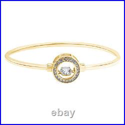 Halo Dancing Cubic Zirconia Circle Bangle Bracelet 14K Yellow Gold Over
