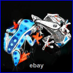 Hand-enameled Frog Design & White Cubic Zirconia Sterling Silver 925 Earring