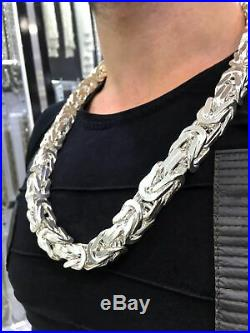 Heavy Mens Necklace Solid 925 Sterling Silver Bali Byzantine Kings Chain Cubic