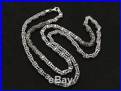 Heavy Sterling Silver Cage Chain With Cubic Zirconia Stones. 36 inch. 107 grams
