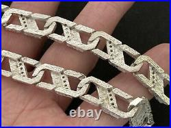 Heavy Sterling Silver Cubic Zirconia Chain. 22 inch