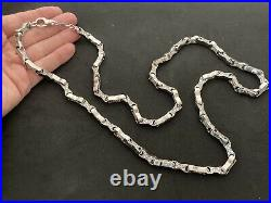 Heavy Sterling Silver Cubic Zirconia Chain. 37 inch