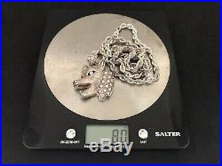 Heavy Sterling Silver Cubic Zirconia Pendant with Sterling Silver Chain