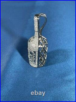 Hennessy Cognac 925 Sterling Silver Pendant Cubic Zirconia Stones Iced Out White
