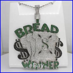 Hip Hop Round Shape Cubic Zirconia Bread Winner Pendant Silver