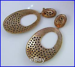 Huge Cubic Zirconia Black Onyx Rose Gold Vermeil Sterling Silver Dangle Earrings
