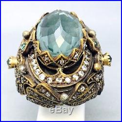 Huge Heavy 925 Sterling Silver Medieval Cubic Zircon Dress Ring Size R B283