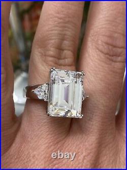 Huge! Ladies Emerald Cut Sterling silver Cubic Zirconia Engagement Ring Designer