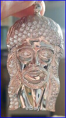 Huge Men's Silver 925 Cubic Zirconia Jesus Head Pendant marked MJA 925 Unusual
