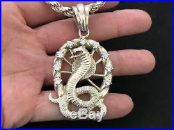 Huge Sterling Silver Cubic Zirconia Snake Pendant with Sterling Silver Chain