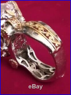 Huge Sterling Silver Ring with Large Heart Shaped Cubic Zirconia Signed NH