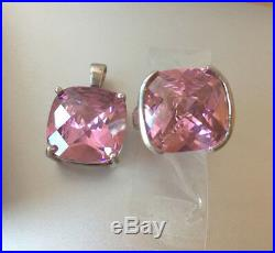 Huge Vintage Pink Ice Cz Cubic Zirconia Ring And Pendant 2pc Set Sterling Silver