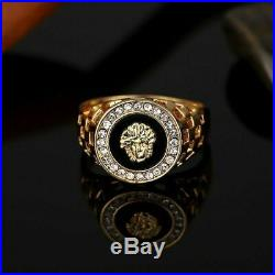 Iced Out Cubic Medusa Head Hip Hop Ring 1Ct Diamond14k Yellow Gold Over