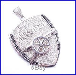 Icejewlz Arsenal Pendant Cubic Zirconia Clear & Black Huge Sterling Silver 56.9g