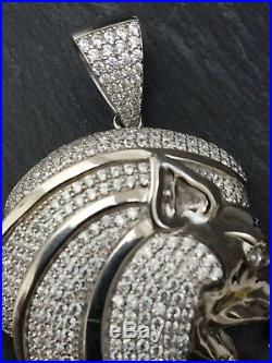 Icejewlz Sterling Silver Royal Lion Pendant Set With Cubic Zirkonia New