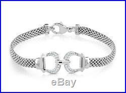 Italian Sterling Silver Cubic Zirconia CZ Horse Shoe Mesh Bracelet 925