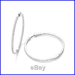 J-JAZ Sterling Silver Micro Pave Big Round Hoop Cubic Zirconia Earrings