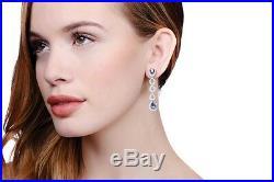 J-JAZ Sterling Silver Micro Pave Blue Teardrop & Clear Cubic Zirconia Earrings