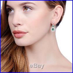 J-JAZ Sterling Silver Micro Pave Fancy Drop Earrings With Green Cubic Zirconia'S