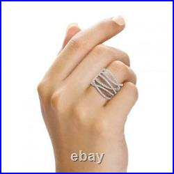 JJAZ Sterling Silver Clear Cubic Zirconia Criss-Cross Heather Ring Gift Boxed