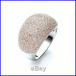 JJAZ Sterling Silver Cubic Zirconia Sabrina Champagne Cocktail Ring Gift Boxed