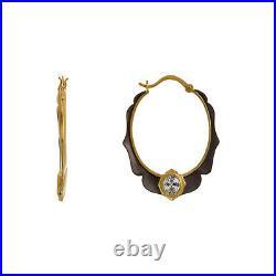 JOEY J-Gold & Black Matte Oval Cubic Zirconia CZ Sterling Silver Hoop Earrings