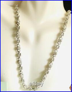 JUDITH RIPKA 925 STERLING SILVER CUBIC ZIRCONIA CABLE CHAIN NECKLACE 35.5g 16